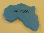 A foam cutout in the shape of Africa, used in the first activity to show continental drift.