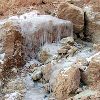 Winter runoff, one of nature's sculptors at work, eroding the rocks as the ice and snow melt