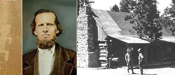 Collage of petroglyphs on the right, Eb Bryce in the middle and a Historic cabin with two men standing nearby
