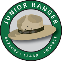 An image of a ranger hat with the words, Junior Ranger, Explore, Learn, Protect