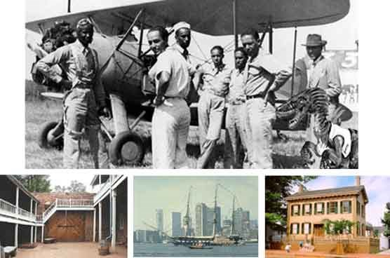 Tuskegee Airmen (top), fort at Pipe Spring National Monument (left), USS Constitution (center), Lincoln Home (right).