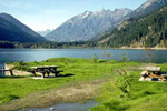 North Cascades - looking across a meadow and lake.