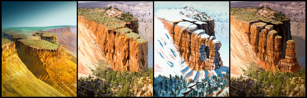 Sequence showing the show erosion of a hoodoo, from plateau to rock spire
