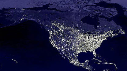America at night, as seen from space