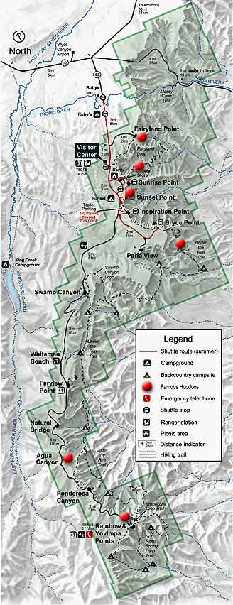 park map with red dots indicating viewing locations of hoodoos in Bryce Canyon