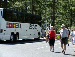 Tour bus and passengers
