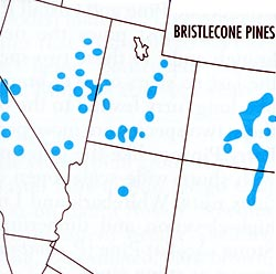Map depicting the range of the Bristlecone Pine tree in the western United States