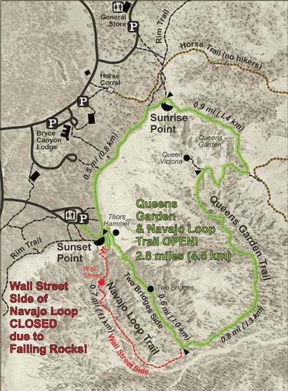 map of open and closed sections of Navajo Trail