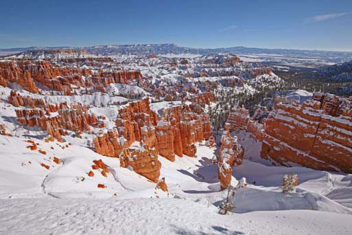 Bryce Amphitheater covered in snow