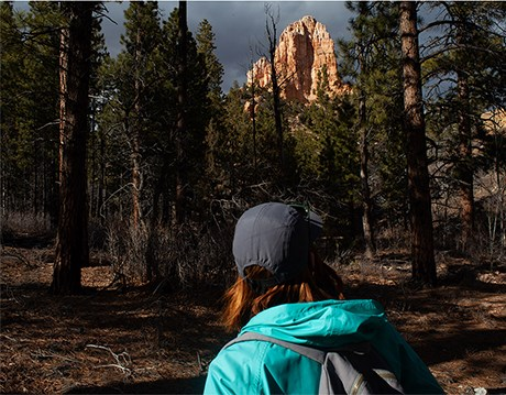 Woman in aqua jacket and hat gazes at orange butte through the trees