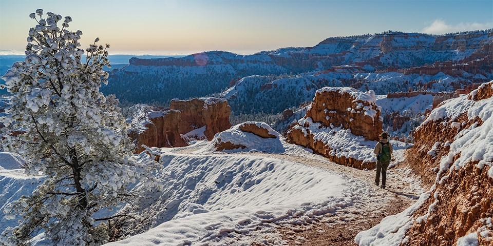Woman on wintry, snow covered trail in red rock landscape