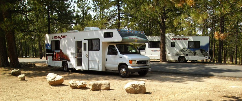 RV parked at campsite