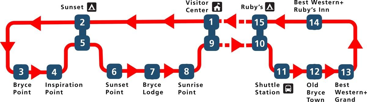 mapa autobus linea bryce canyon