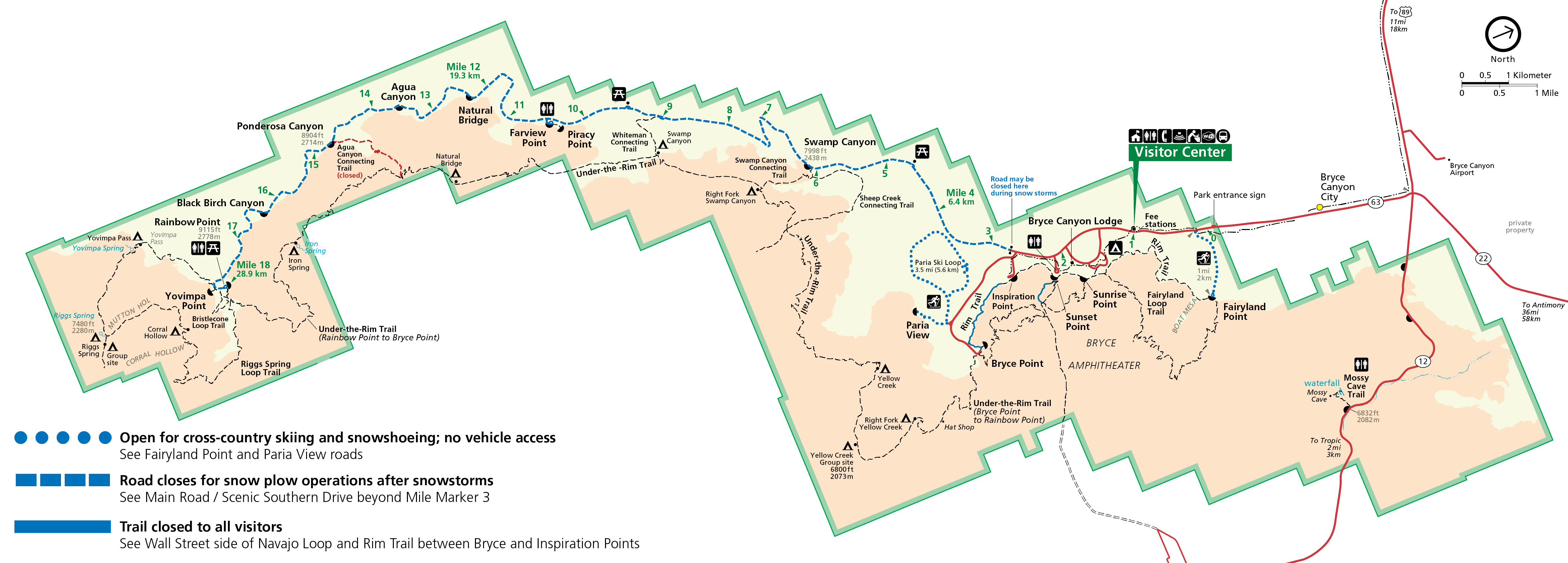 Map of the park depicting areas that are open or closed to visitor use in winter