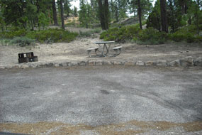 graveled RV site in North Campground