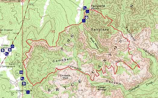 Topographical image of Fairyland Loop Trail