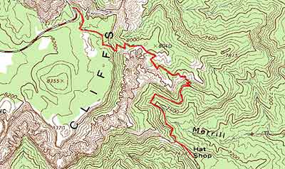 Topographical image of the Hat Shop Trail (marked in red)