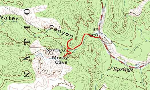 Topographical Image of Mossy Cave trail