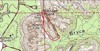 flat Topographical image of Navajo loop Trail.