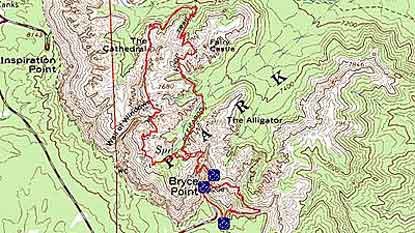 Topographical Image of Peek-A-Boo Trail