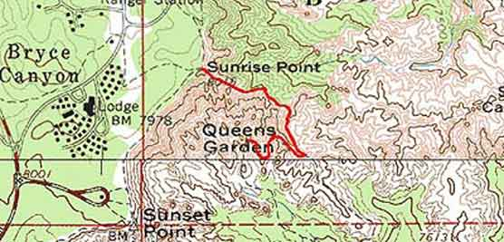 Topographical Image of Queens Garden trail (marked in red)