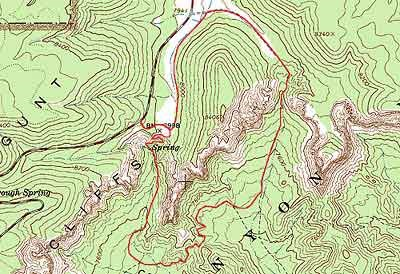 Topographical image of Swamp Canyon Trail (marked in red)