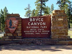 Main Entrance Sign for Bryce Canyon National Park