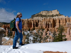 backpacker in winter scene