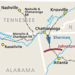 a map depicting shermans troops moving south of Chatanoonga, TN