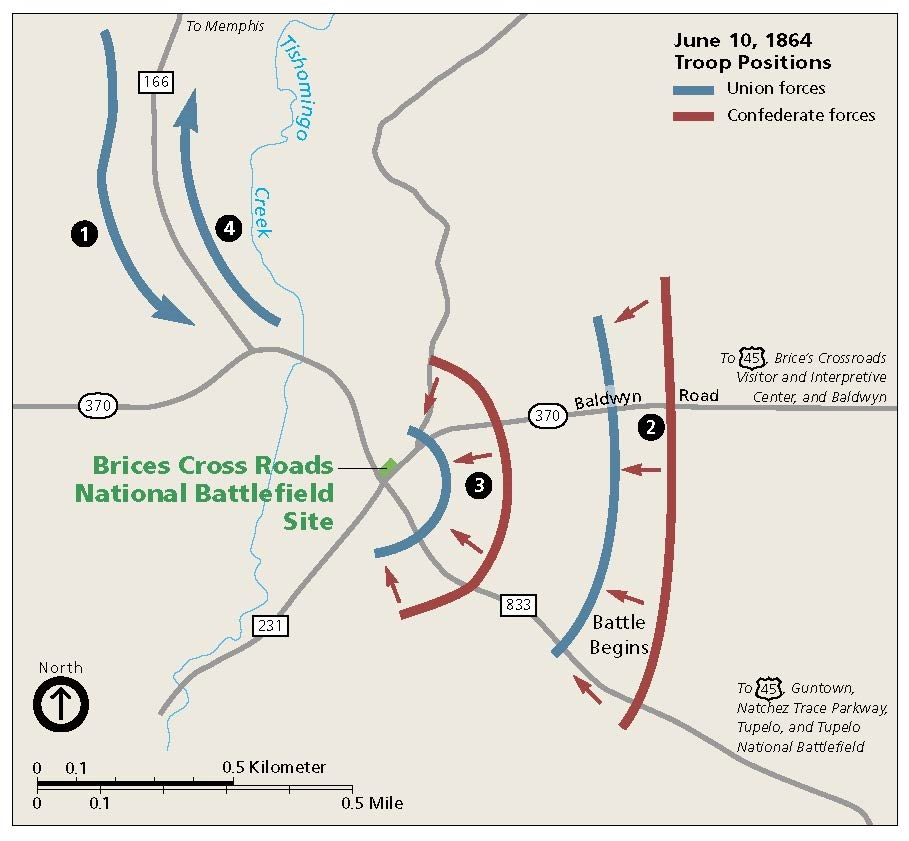 Map of basic troops movements at the Battle of Brices Cross Roads