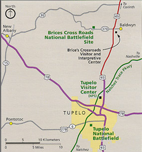 Road map showing Brices Cross Roads National Battlefield Site and Tupelo, Mississippi.