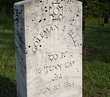 June 10, 1864 appears as the death date on 96 Confederate graves in the Bethany Cemetery.