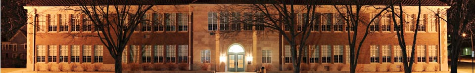 Exterior of Brown v. Board of Education NHS, the former Monroe Elementary School, at night.