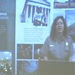 Image from a distance learning program showing Ranger on screen in a classroom.