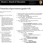 Image of lesson plan document for 3 branches of government.