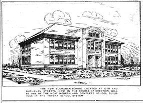 Image of artist's drawing of the new Buchanan School as printed in the Topeka Plaindealer on September 3, 1920.
