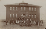 Image of Gage School and students in the late 1800's.