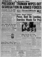 """By Executive Order-President Truman Wipes Out Segregation in Armed Forces."" Chicago Defender, July 31, 1948."