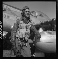 Edward C. Gleed of Lawrence,, Kansas, Tuskegee pilot. Photo, 1945.