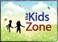 The KidsZone logo with two children in a field of long grass with blue sky, clouds and birds.