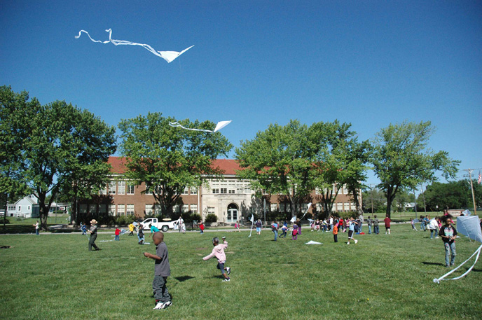 Students from Williams Science and Fine Arts Magnet School enjoy flying kites at the site.