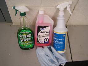 Green cleaning products currently in use.