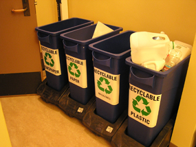 Recycling center for employee use.