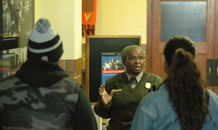 Ranger Joan Wilson speaks with members of the Youth Leadership Advisory Council.