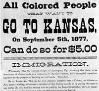 Image of a historic poster encouraging African Americans in Lexington, Kentucky to move to Nicodemus, Kansas.
