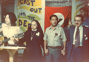 Sister Maria Luz Hernandez and Cesar Chavez, Newark, New Jersey, January 1975