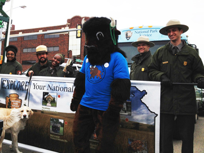 Rangers from Kansas National Parks, along with Buddy Bison and Monroe the Dog.