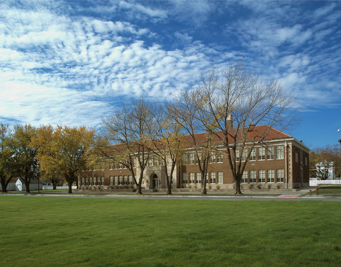 Exterior view of Brown v. Board of Education NHS as seen from the historic playground.