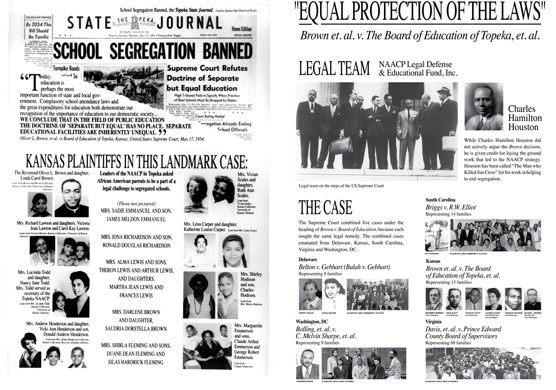 Multiple image of people and places related to the Brown v. Board of Education case.