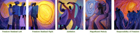 Five paintings in the Color in Freedom exhibit by Joseph Holston.